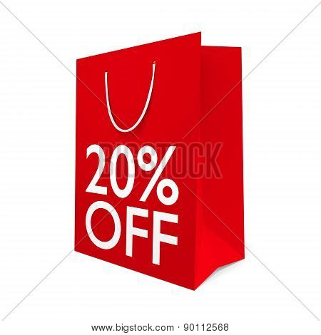 Red paper shopping bag for a 20 percent off sale