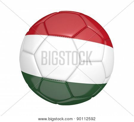 Soccer ball, or football, with the country flag of Hungary