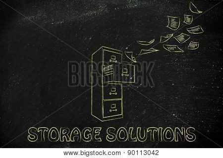 Archive With Business Documents Flying Into Or Out Of It