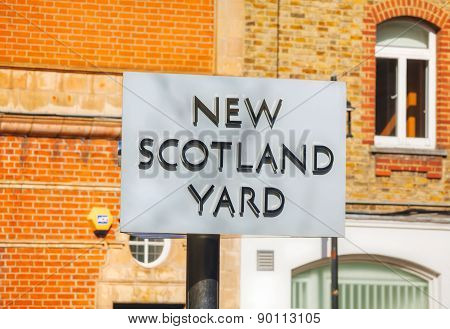 Famous New Scotland Yard Sign In London, U
