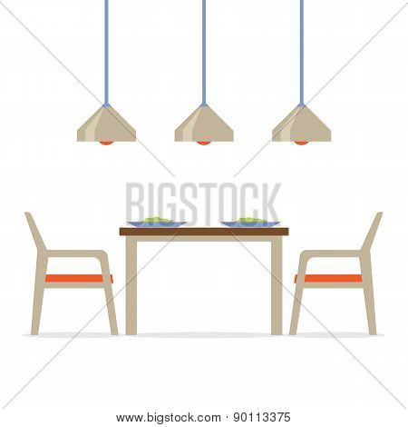 Flat Design Interior Dining Room.