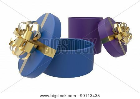 Two Gift Boxes In Blue And Purple