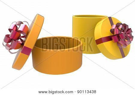 Two Gift Boxes In Orange And Yellow
