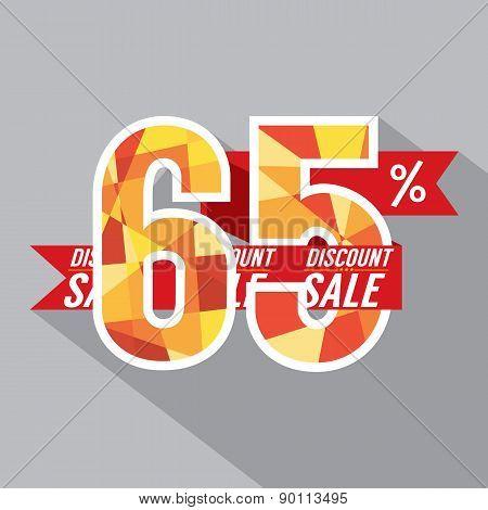 Flat Design Discount 65 Percent Off.