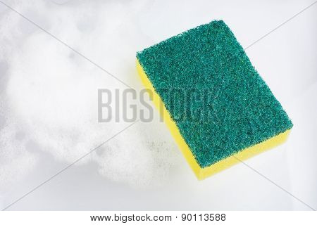 Kitchen Sponge For Dish Cleaning Isolated On White