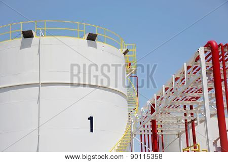 Storage tanks in a refinery plant
