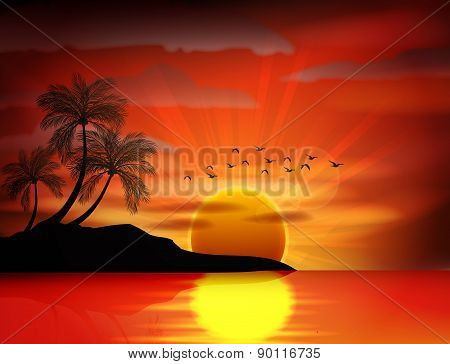 Photo of sunset on sea
