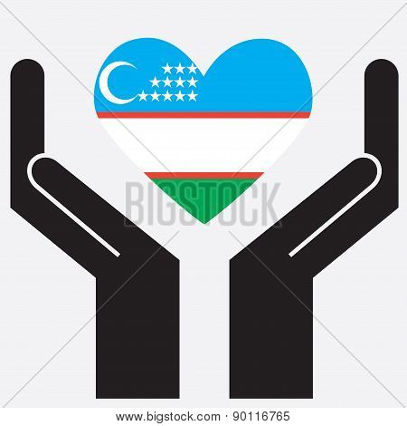 Hand showing Uzbekistan flag in a heart shape.