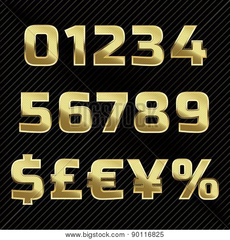 Gold glittering metal alphabet - numbers, currency signs.