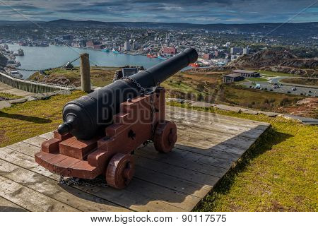 Canon on Signal Hill overlooking the city of St. John's, Newfoundland.