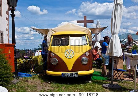 Old Vw Car Named Bully Serves As Cafe At The Hessentag