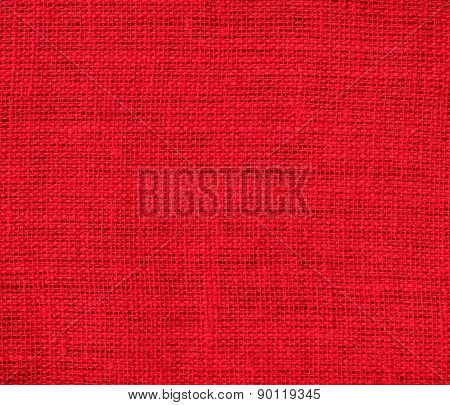 Cadmium red color burlap texture background