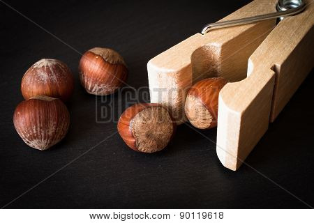 Hazelnuts In Shell With Clothespins