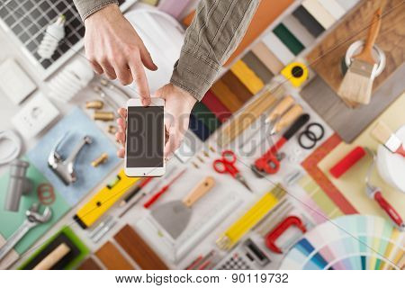 Home Renovation And Diy App On Mobile Device