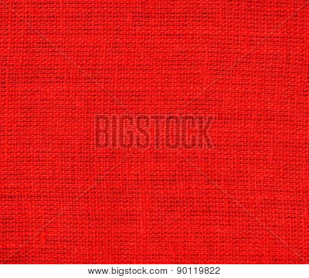 Candy apple red color burlap texture background