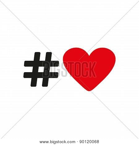 The Hash Love Icon. Hashtag Heart Symbol. Flat