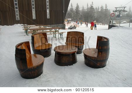 Unique Chairs And Table Made Of Old Wooden Barrels