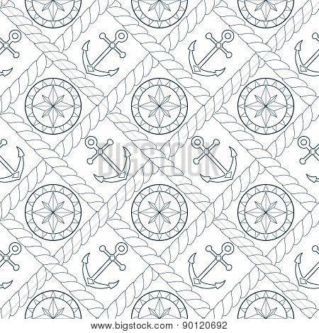 Anchor and compass seamless pattern in rope lattice in white and subtle blue, vector