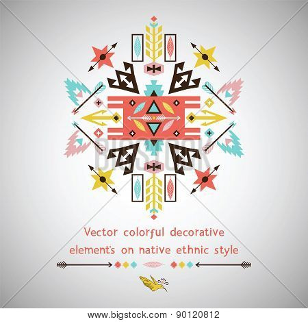 Vector bright decorative element on aztec style
