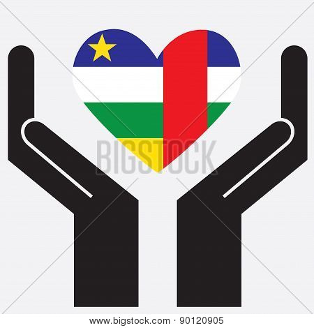 Hand showing Central African Republic flag in a heart shape.