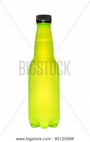 Plastic Bottle For Beverage On White Isolated Background With Clipping Path.