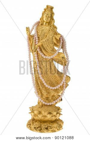 Goddess Of Mercy Guan Yin Statue On White Isolated Background With Clipping Path.