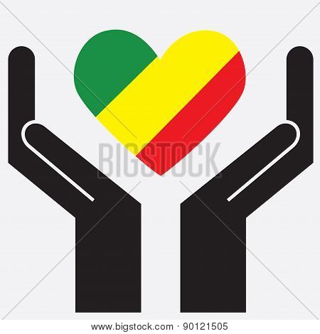 Hand showing Republic of the Congo flag in a heart shape