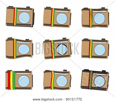 Rastafarian Camera Icon Set