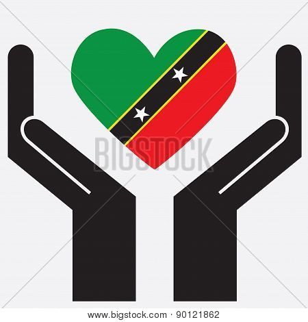Hand showing Saint Kitts and Nevis flag in a heart shape.