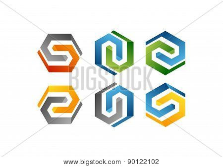 construction hexagon element geometry cube line logo set,letters,company modern build square symbol