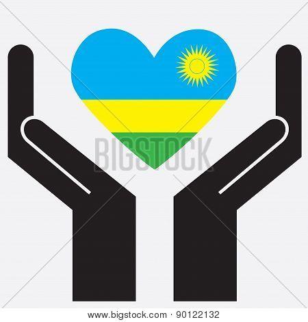 Hand showing Rwanda flag in a heart shape.