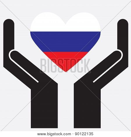 Hand showing Russia flag in a heart shape.