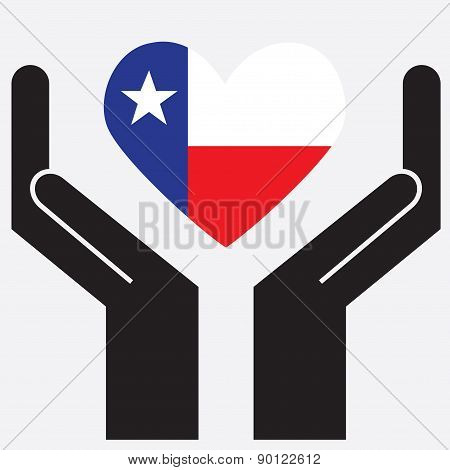 Hand showing Texas flag in a heart shape. Vector illustration.