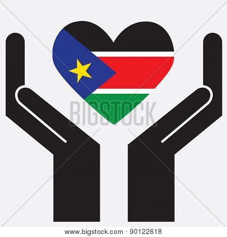 Hand showing South Sudan flag in a heart shape. Vector illustration.