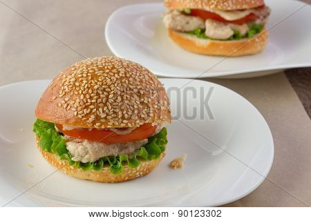 Turkey Burger On Porcelain Dish