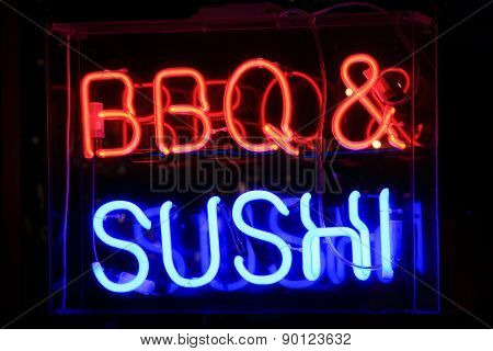 Sushi and barbecue neon sign