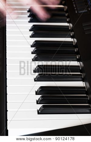 Musician Playing Music On Digital Piano Close Up