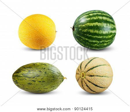 Set Collection Of Melon And Watermelon Isolated On White Background