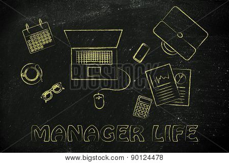 Office And Manager Life: Desk With Laptop, Business Plan Documents, Calendar And Others