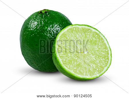 Fresh juicy limes sliced isolated on white background