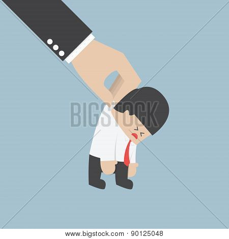 Big Hand Holding A Businessman