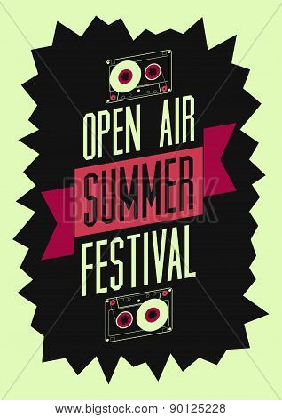 Summer festival open air poster. Retro typographical vector illustration.