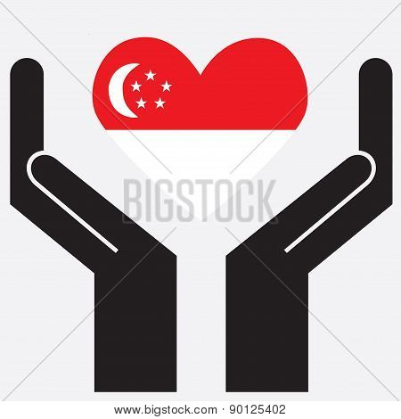 Hand showing Singapore flag in a heart shape. Vector illustration.