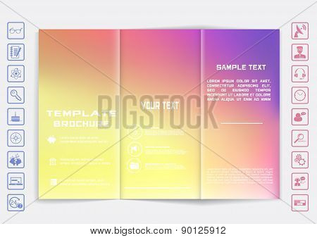 Tri-fold Brochure Mock Up Vector Design. Smooth Unfocused Bokeh Background.