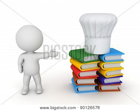 3D Character Showing Stack of Cook Books