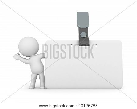 3D Character Waving from Behind Name Badge