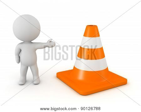 3D Character Showing Orange Road Cone