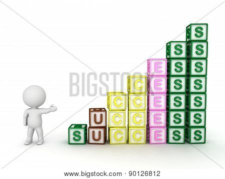 3D Character Showing Progressive Stacks of Letter Blocks Spelling Success