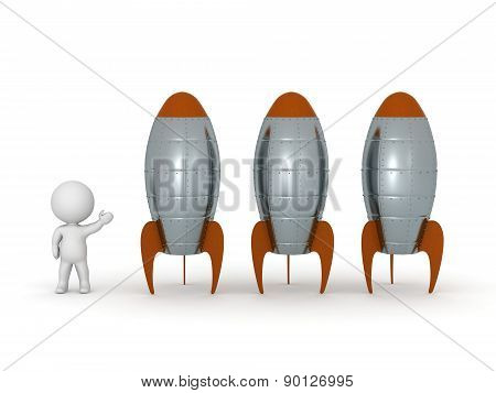 3D Character Showing Three Rockets