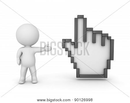 3D Character Showing Large Hand Cursor